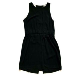 Halston Heritage Dress 6 Black Halter Neck Gold